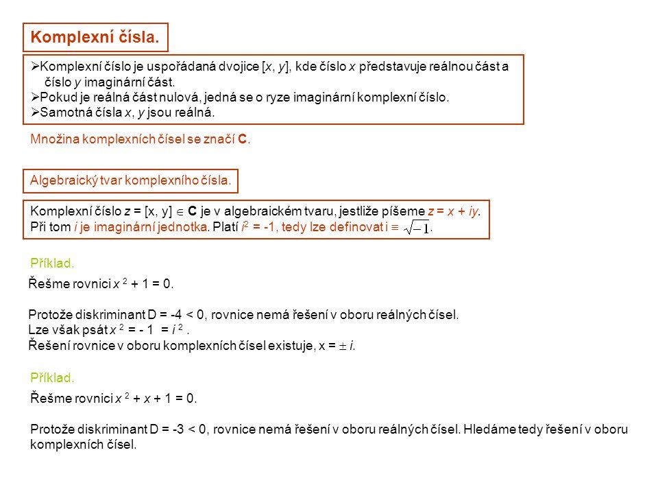 Komplexní čísla. Komplexní číslo je uspořádaná dvojice [x, y], kde číslo x představuje reálnou část a.